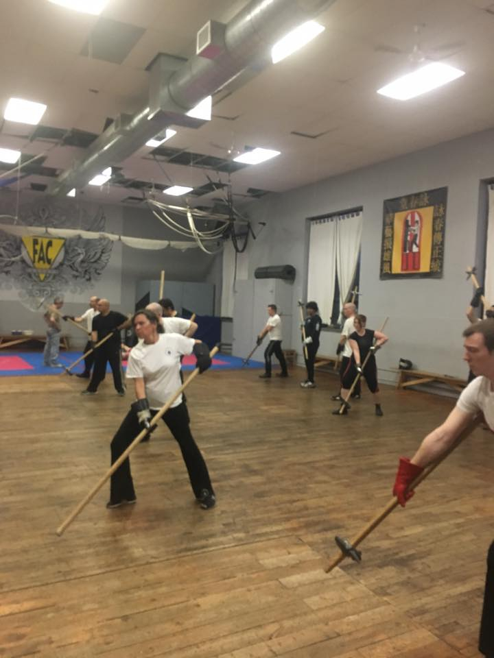poleweapon training class using poleaxe